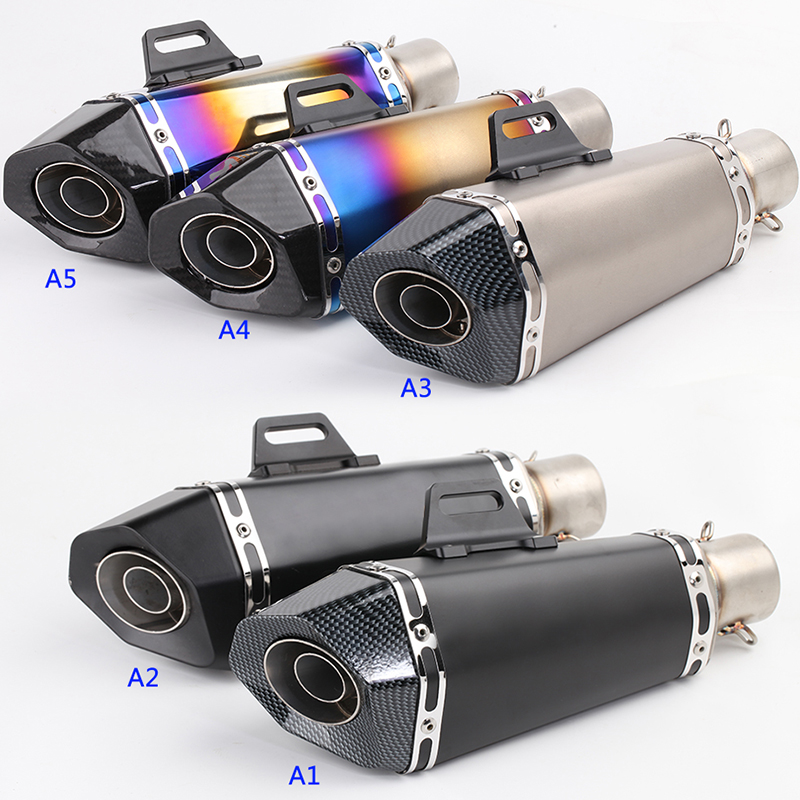 51mm Motorcycle muffler exhaust pipe akrapovic sportst with db killer for benelli 600 r6 r15 nc750x