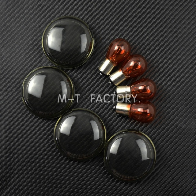 Motorcycle Turn Signal light Lens Cover Light Blub For Harley Sportster 883 1200 XL Touring Road Glide Dyna Softail 1986-2017