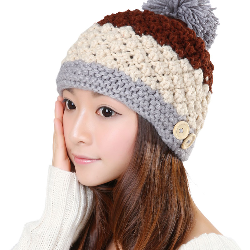 BomHCS Fashion Mosaic Warm Wool Handmade Women Knitted Hat Button Cute Lovely Crochet Thick Beanie Hats Cap bomhcs mosaic contrast color women s fashion winter soft warm crochet beanie handmade knitted hat cap