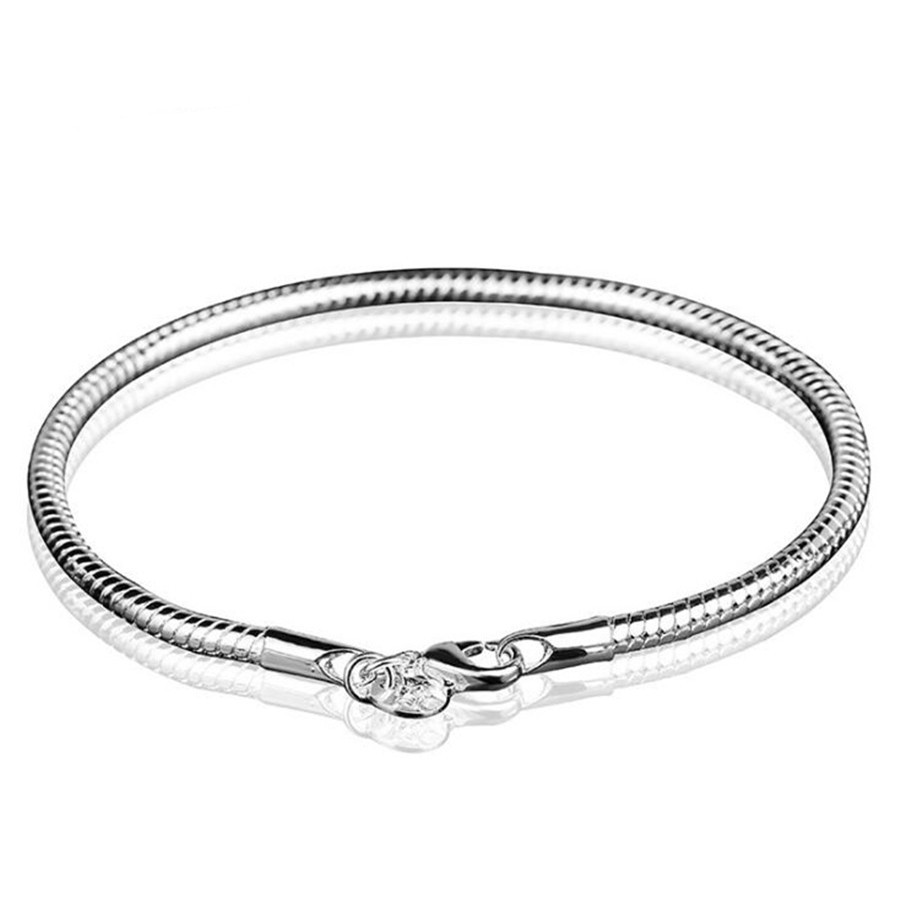 WSB016 Fashion Designer Womens Girls Silver Plated 3mm Snake Chain Bangle Bracelet Party Cocktail