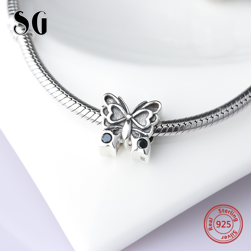 SG 925 silver beads lovely butterfly charms with CZ Fit original pandora bracelets jewelry accessories making for women gifts in Beads from Jewelry Accessories