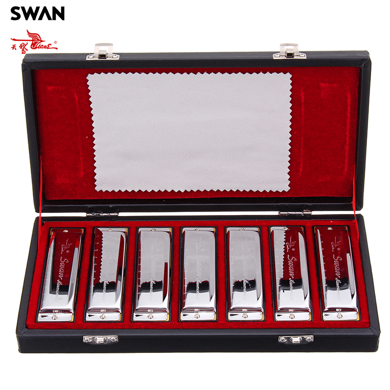 7PCS Set Swan 10 Holes Blues Harmonicas Performance Haronica ABCDEFG 7 Keys Harp Musical Instruments Gift