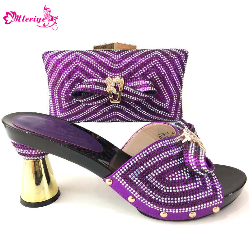 New Women Italian Matching Shoes and Bag Set Decorated with Rhinestone for Party Shoes and Bag Set 2018 African Shoe and Bag Set wine color italian shoe with matching bag set decorated with rhinestone african shoes and bag set for party in women italy shoes