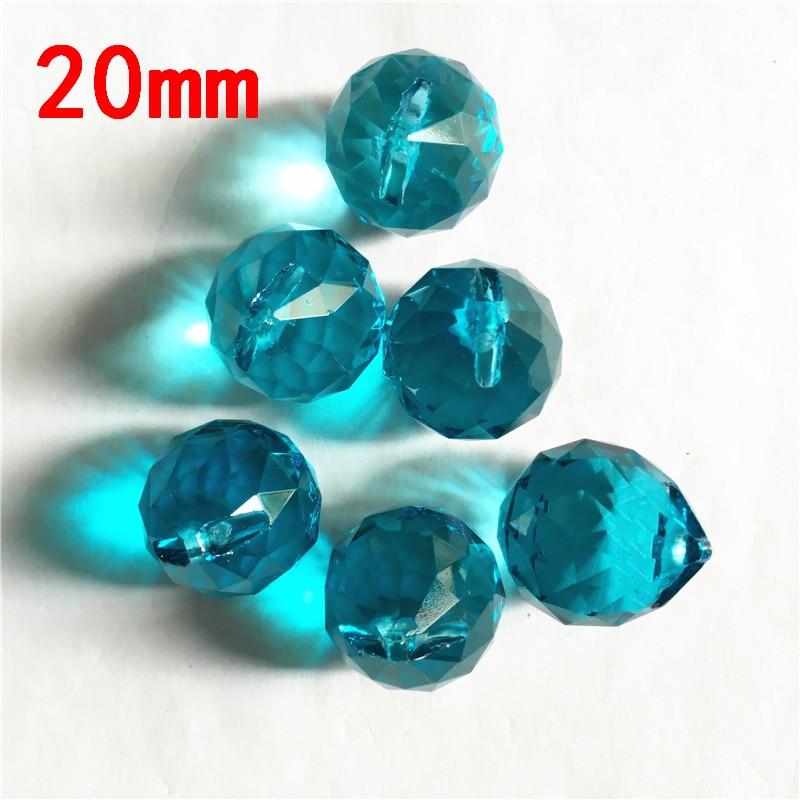 Mascot 20mm Aquamarine 20pcs Crystal Balls In One Holes Healing Crystals Suncatcher Wedding Decoration,Crystal Chandelier Parts
