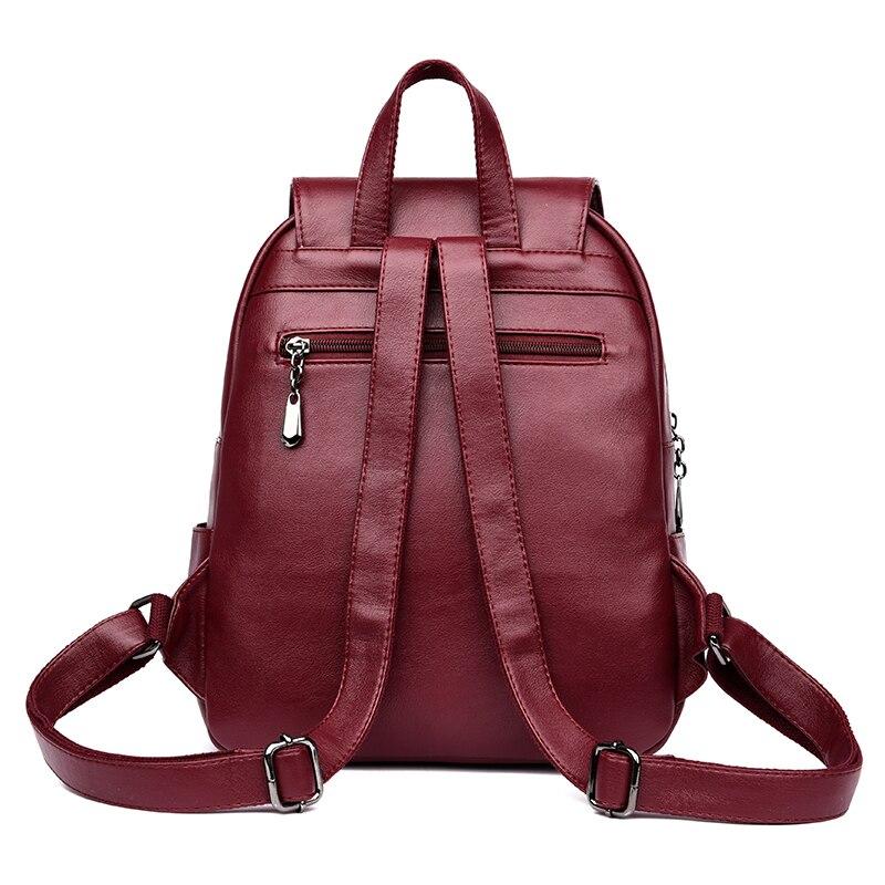 Fashion Women Backpacks Women's Leather Backpacks Female School Backpack Women Shoulder Bags For Teenage Girls Travel Back #3