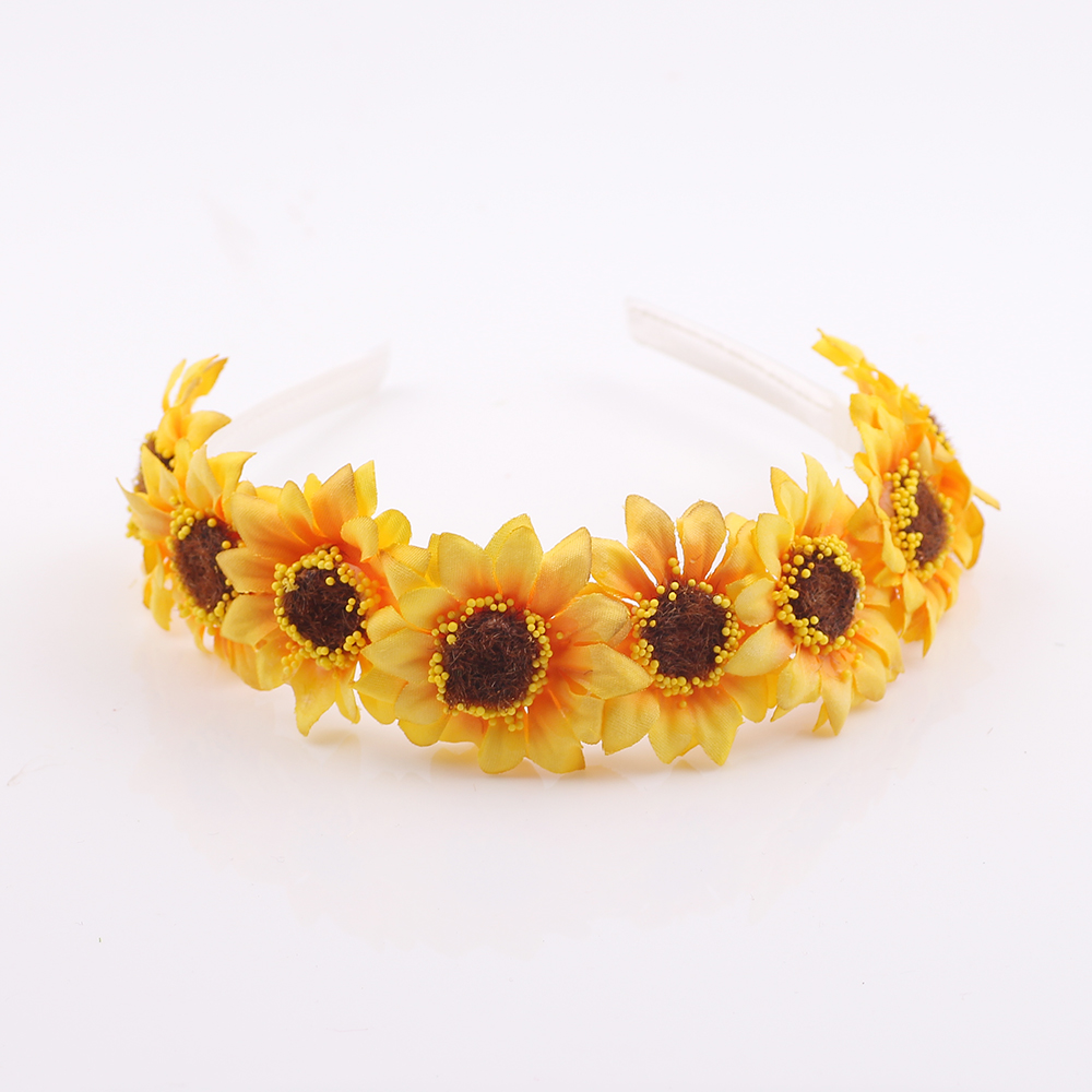 Kids Headband Hair Accessories Elastic Princess Sunflower Girls   Headwear   Wedding Crown wreach band Christmas party gift