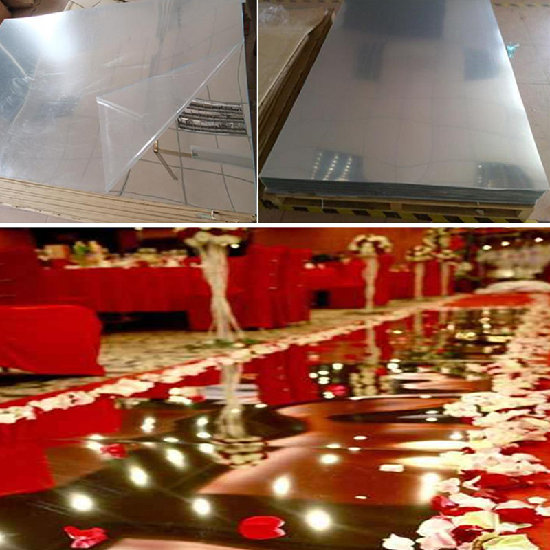 Hurtownie 1.2X50 metr ślub lustro dywan dwustronny srebrny T etap chodnik dywanowy na wesele bankiet 0.12mm grubości