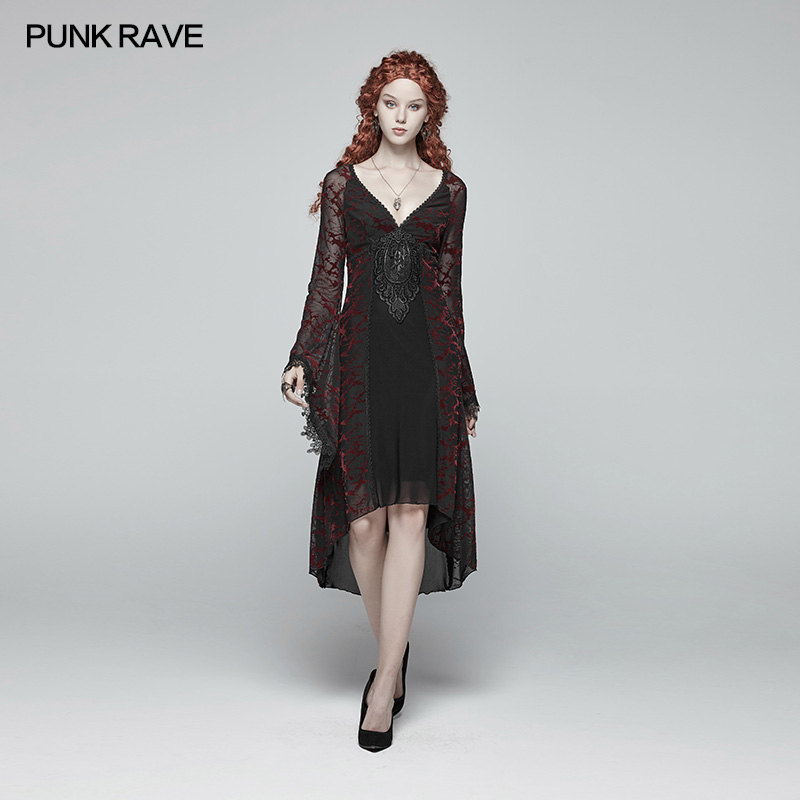 Punk Rave Women Dress Gothic Goddess Victorian Classical Gorgeous Lace Casual Mid length Stage Performance Costumes