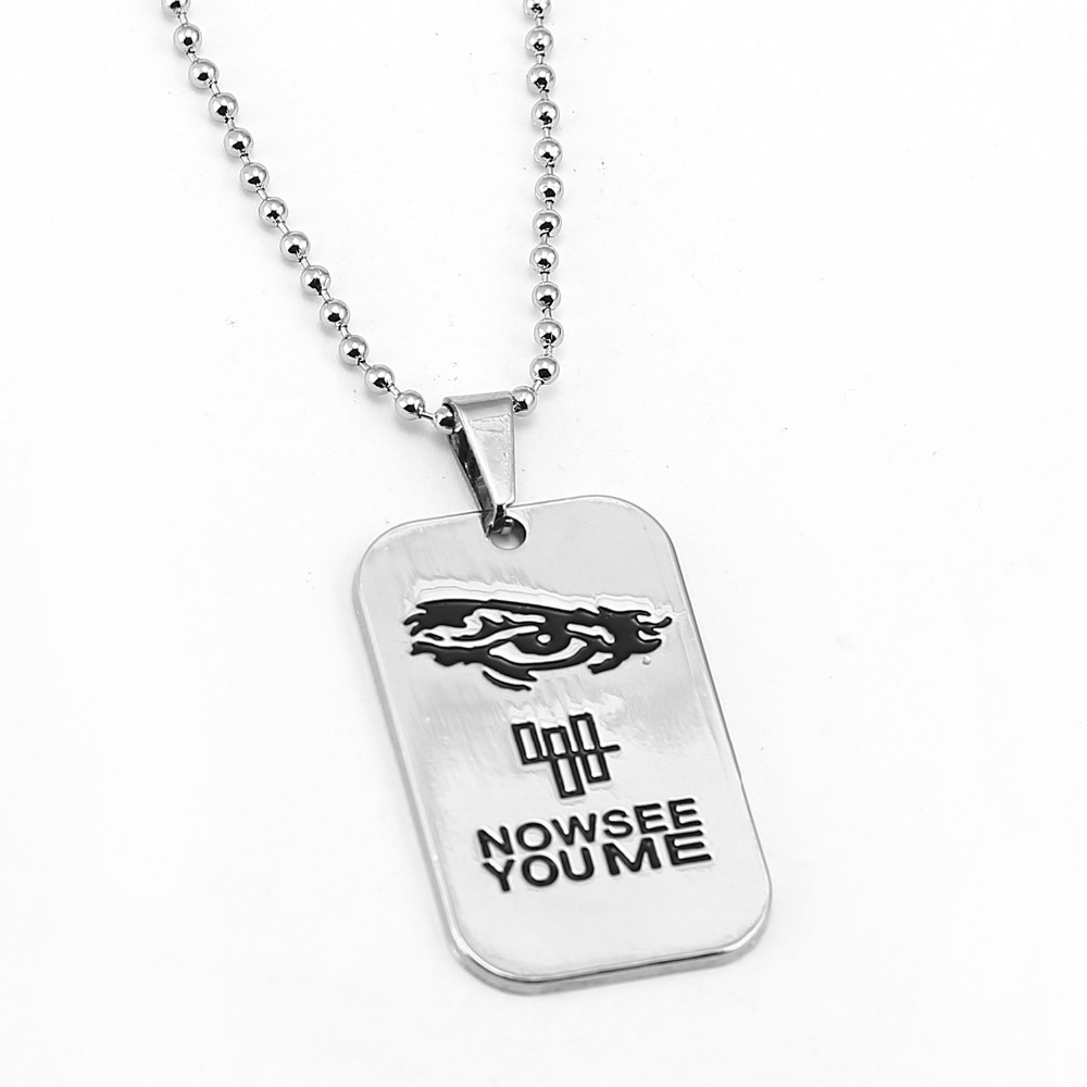 Movie surroundings Now You See Me Dog Tag Pendent Necklace Men bead chain zinc alloy fashion Jewelry Wholesale price JX11901 image