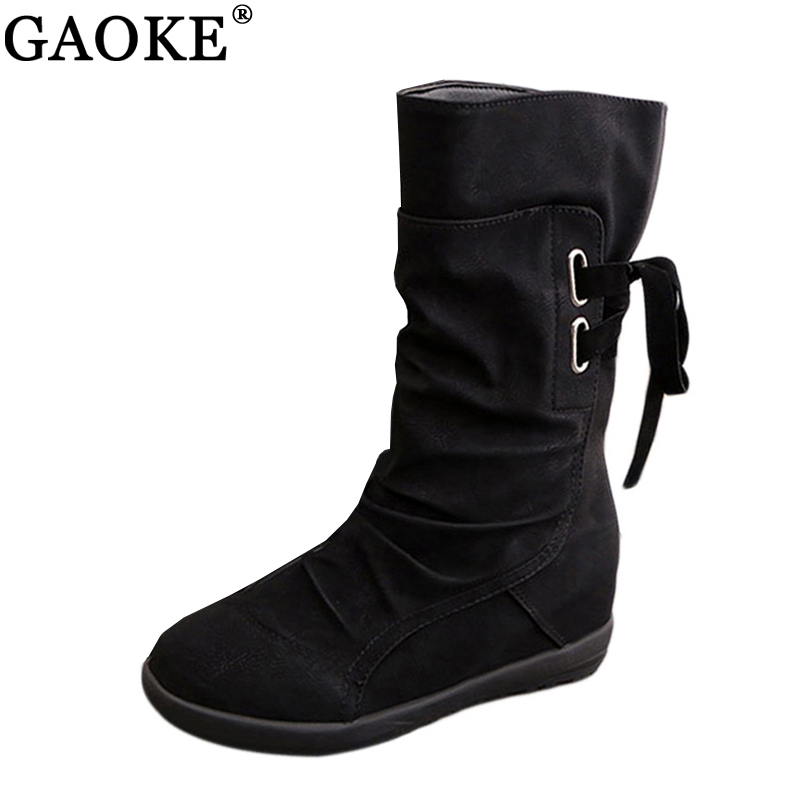 Women Winter Snow Boots Mid-Calf Solid Wedges Ladies Height Increasing Shoes Casual Leather Boot Woman Warm Botas Mujer цены онлайн
