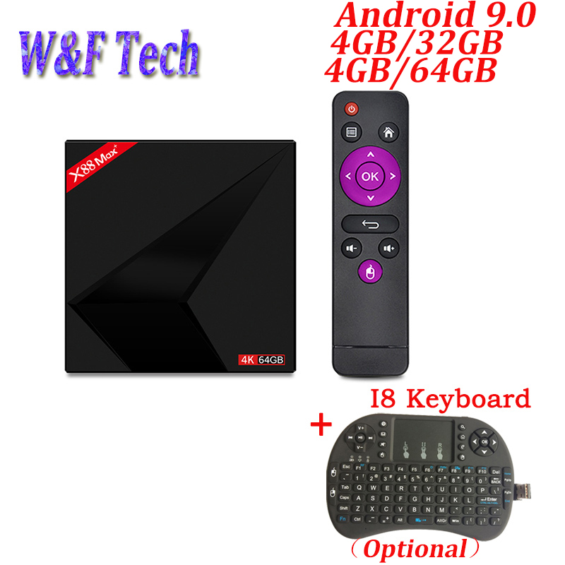 X88 Max plus TV box Android 9.0 4GB 64GB RK3328 2.4G/5G double Wifi BT4.0 type-c USB3.0 4K HD lecteur multimédia intelligent Android TV BOX