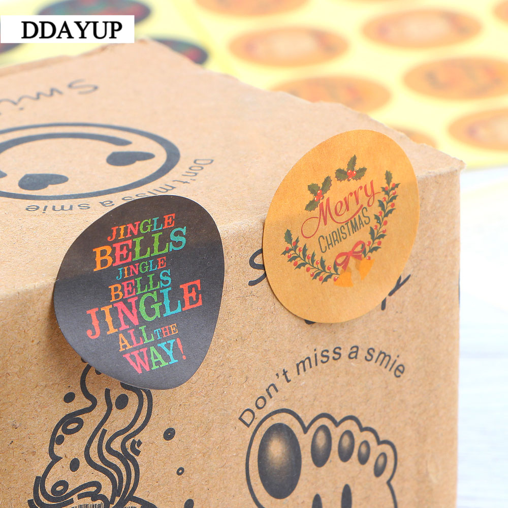 Купить с кэшбэком 120Pcs Santa Claus Kraft Paper Sticker Merry Christmas Garland Jingle Bell Seal Sticker DIY Paper Label Kid Stationery Stickers