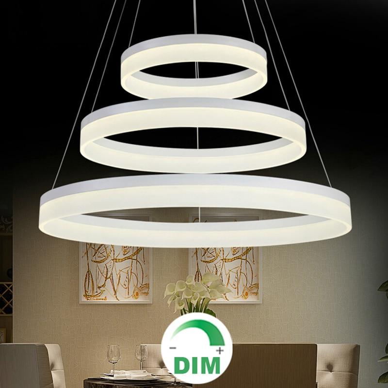 For restaurant foyer bedroom dinning room round ring LED hanging lamp Modern dimming dimmable LED chandelier light lamp-in Chandeliers from Lights & Lighting    1