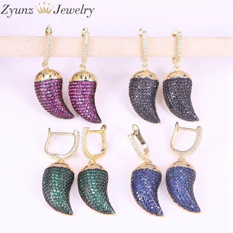 4 paires ZYZ293 8861 Micro Pave cubique zircone coloré petit CZ cerceau corne boucles d'oreilles pour les femmes-in Boucles d'oreilles pendantes from Bijoux et Accessoires    1
