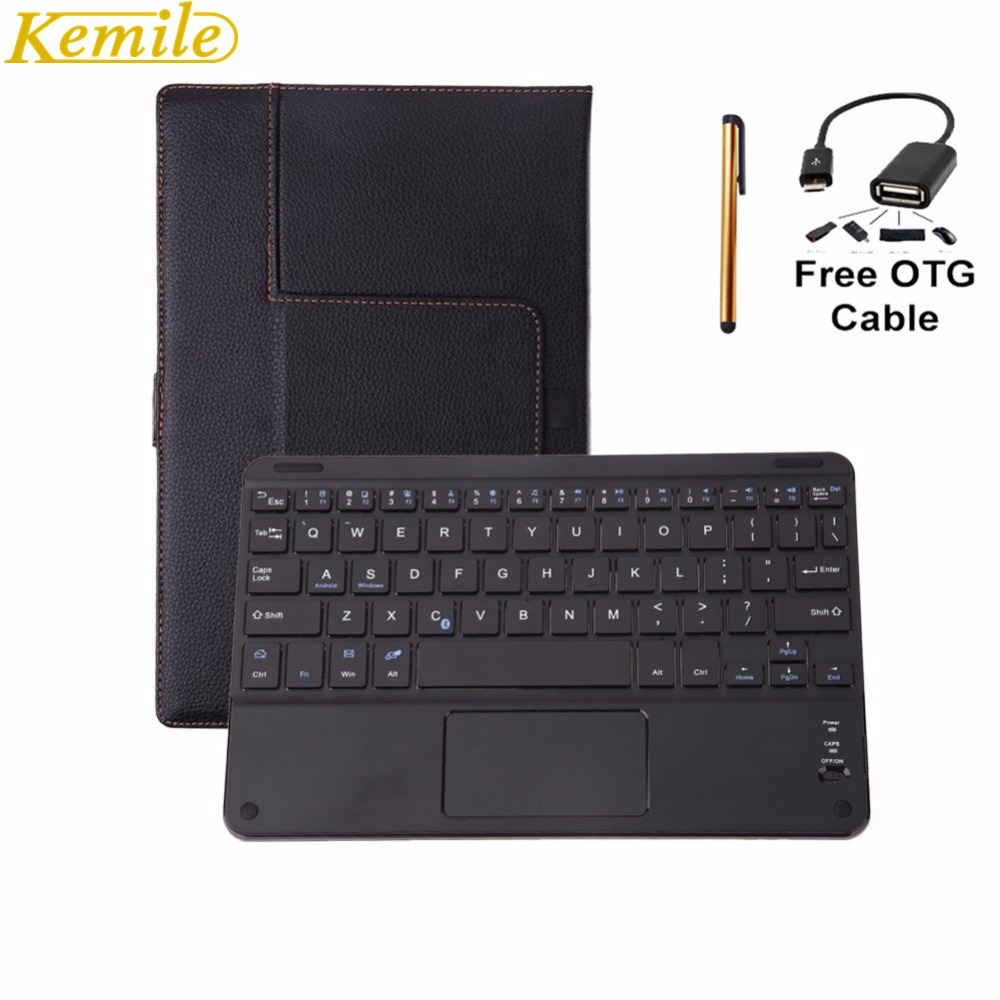 Kemile Universal 8-8.9 Tablet Removable Wireless Bluetooth 3.0 Keyboard with Touch Pad for Android Windows Tablet Leather Case ios windows android universal bluetooth keyboard abs leather case for 7 8 9 9 7 10 1 tablet pc case support russia keyboard