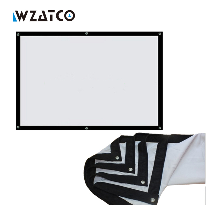 WZATCO 100inch 16:9 Projector HD Screen Portable Folded Front projection screen Canvas fabric with eyelets without Frame