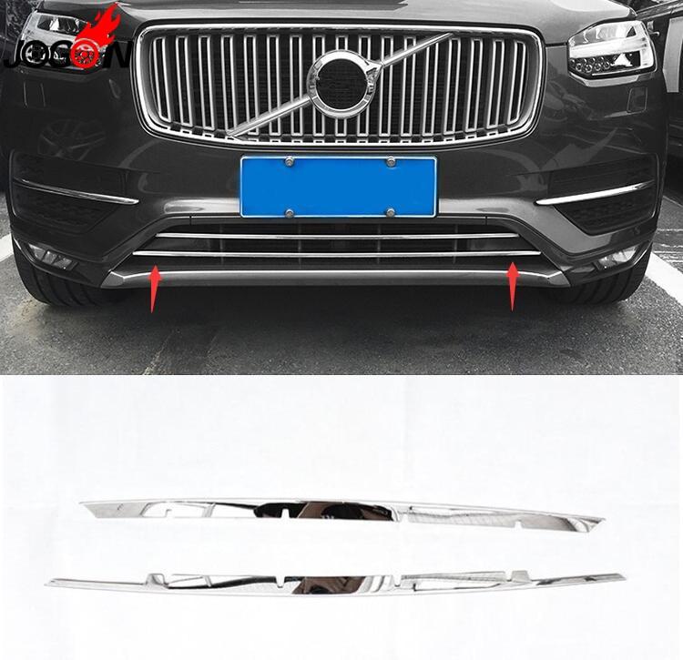 2 pièces accessoires en acier inoxydable avant pare-chocs fond maille Grille Grille couvercle inférieur pour Volvo XC90 2016 2017 2018 voiture style