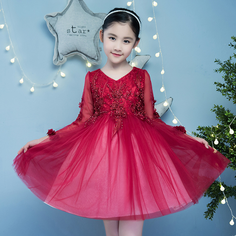 It's yiiya New Red Half Sleeve Flower Girl Dresses V-neck Ball Gown Fashion Beading Girl Dress TS236