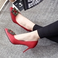 New Spring Summer Women Pumps Elegant Buckle Rhinestone Silk Satin High Heels Shoes Heeled Sexy Thin Pointed Single Shoes F927