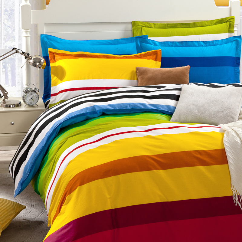 Rainbow Color Stripe Boys Bedding Set For Single/double Bed,(flat Bed Sheet/ Mattress Cover+Duvet Cover+pillow Shams)4pc/5pc Sets In Bedding Sets From  Home ...
