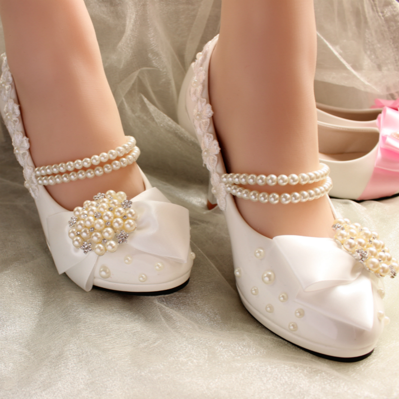 2017 Spring Woman Wedding Shoes Lace Rhinestone pearl High Heels Bridal Shoes Ladies Sexy Pumps Sapato feminino Z692 free shipping sexy ladies genuine leather platforms high heels green crystals and rhinestone wedding bridal shoes scale drawing
