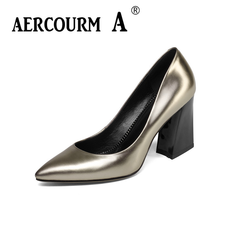 Aercourm A 2018 spring Women Genuine Leather Shoes Female Solid color Shoes Ladies High Heel Pumps Square Green Brand Shoes Z305 aercourm a 2018 women black fashion shoes female bright genuine leather shoes pearl high heel pumps bow brand new shoes z333