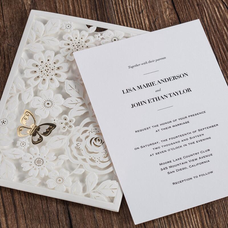 50pcs/pack Laser Cut Wedding Invitations Cardstock Flowers Birthday Cards  With 3D Butterfly Engagement For