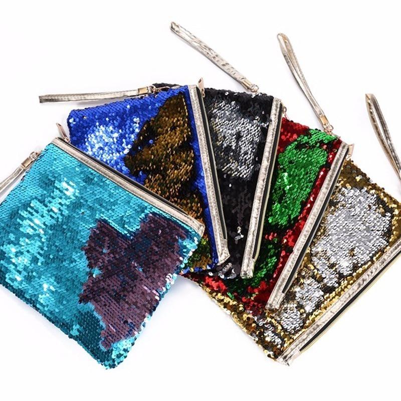 Women put on makeup bag Reversible Sequins Mermaid Glitter Handbag Evening Clutch Bag Wallet Purse Evening Party Bag