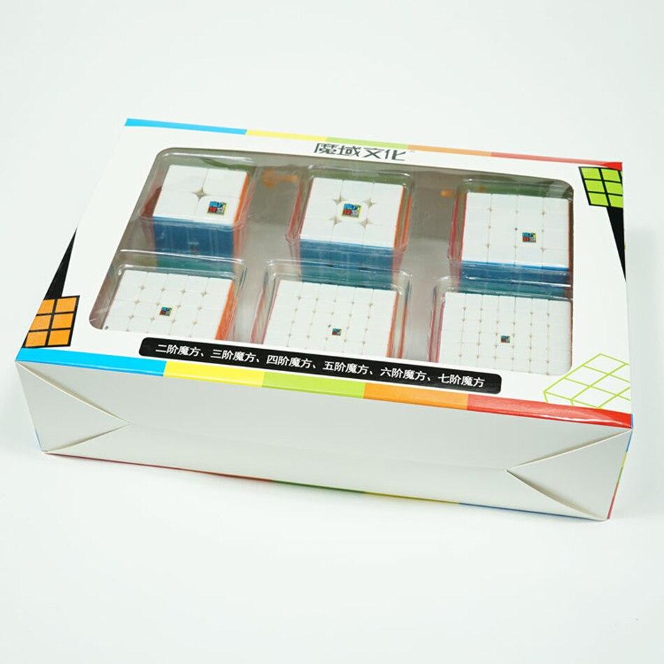 MoYu Speed Cube Bundle Moyu Mofang Jiaoshi MF2S MF3S MF4S MF5S MF6 MF7S ensemble de Cube magique sans colle 6 en 1 avec boîte-cadeau - 6