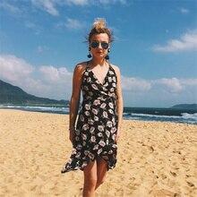 Пикантные пляжное платье Для женщин летнее платье 2018 спинки без рукавов с принтом спагетти ремень женское платье шифон до середины икры Платья для вечеринок