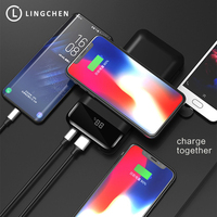 LINGCHEN Qi Wireless Charger Power Bank 20000mAh Portable External Battery Charger PowerBank 20000 mAh for iphone for Samsung s9
