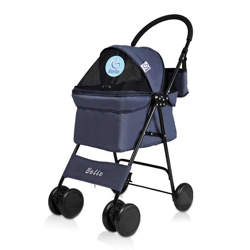 รถเข็นเด็กสุนัขแมวสัตว์ขนาดเล็ก Carrier CAGE 4 ล้อแบบยืดหยุ่น Easy Walk สำหรับ Jogger Travel ตาข่ายหน้าต่าง