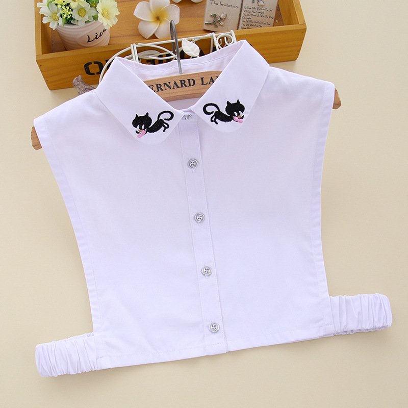 YSMILE Y New Shirt Fake Collar Women Female Embroidery Cat Detachable Blouse Fake Collar White High Quality Clothes Accessories