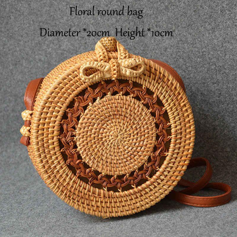Mão-feito rattan saco de qualidade rattan tecido redondo saco de armazenamento polígono bolsa de ombro feminina saco de palha de verão 25 estilos diferentes