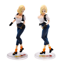 20cm Anime Dragon Ball Z Android 18 Lazuli Jeans Ver PVC Action Figure Collection Doll Model Toys Gifts For Christmas dragon ball z android no 18 lazuli jeans ver dragonball freeing girls action figure toys 25cm