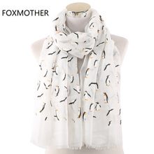 FOXMOTHER New Design Penguin Scarf Foam Print Scarves Foulard Femme Ocean Shawl Wrap Bufanda Mujer Women