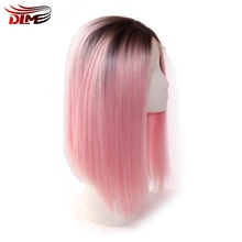 DLME Dark Black Root rose pink synthetic lace front wig 10-16 inch straight short bob hair wigs heat resistant fiber for woman