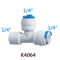 """1PC 1/4"""" 1/4"""" Tube OD Hose 1/4"""" Maled Tee Adapter Quick Connection RO Water Connector Fittings Reverse Osmosis Aquarium System