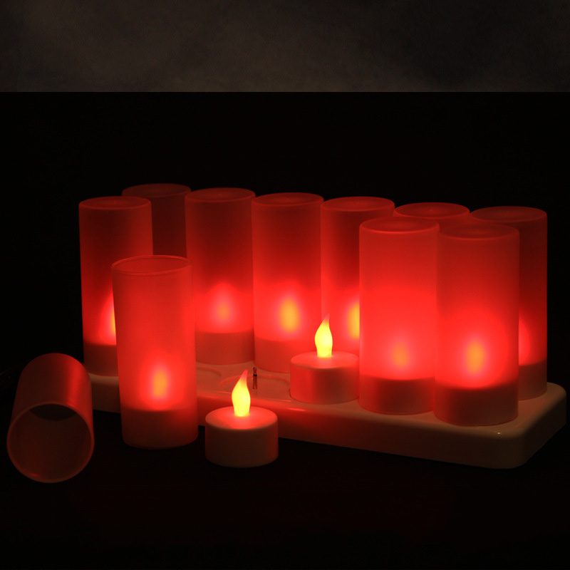12 pieces Flickering Red candle <font><b>led</b></font> rechargeable,Flameless Battery <font><b>led</b></font> kaarsen oplaadbaar,color changing Tealights For massage image