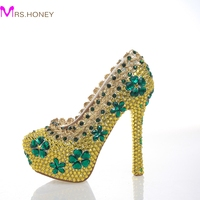 2017 Newest Designer Gold Color Green Flowers Rhinestone Shoes Fashion Stiletto Crystal High Heels Party Prom