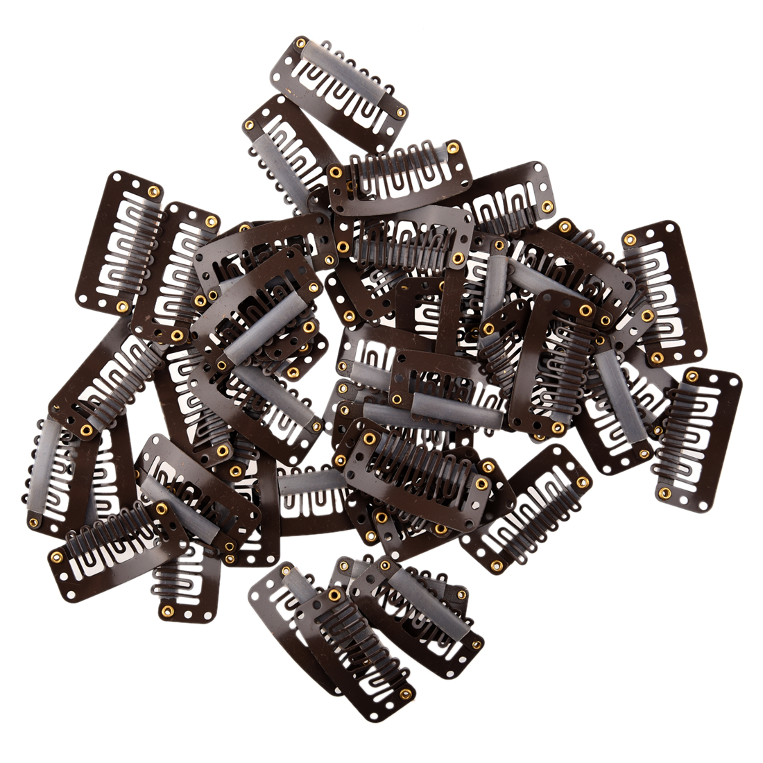 50pcs Brown Snap Clips U-shape Metal Clips for Hair Extensions DIY