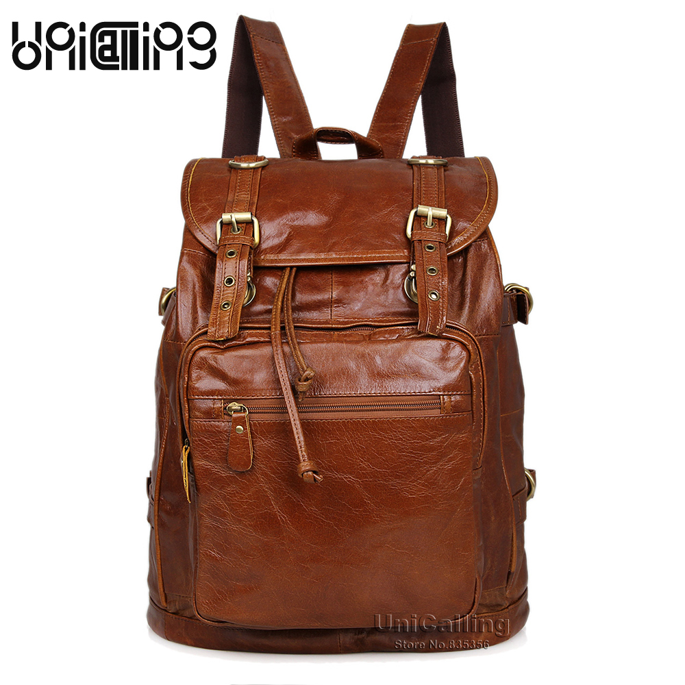 Unisex men/women leather backpack leather fashion vintage real cow leather backpack leisure travel genuine leather backpack bag men backpack leather fashion real cow leather backpack for men leisure men genuine leather 14 laptop backpack safe back zipper