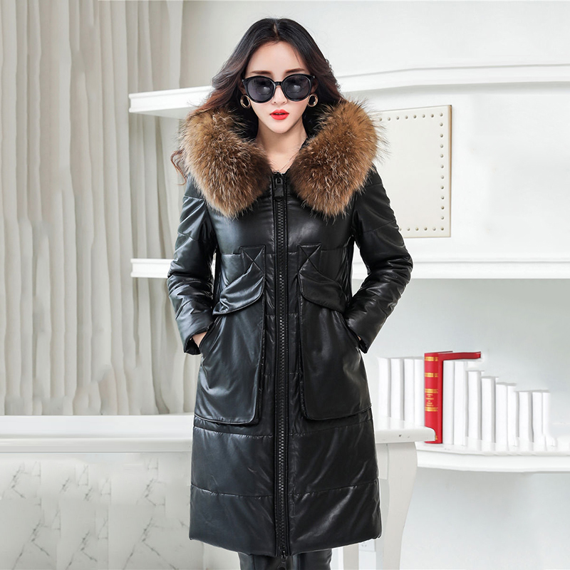 Long Faux Leather Women Jacket Coat Faux Fur Collar Hooded Warm Female Winter Outerwear Coats Thick