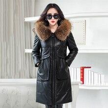 Длинные Искусственная кожа Для женщин пальто куртки искусственного меховой воротник с капюшоном теплые женские Зимнее пальто толстые дамы куртка-парка Новинка 2017 года
