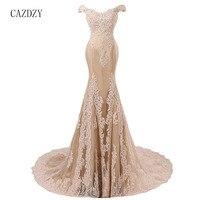 CAZDZY 2018 с плеча Длинные платья выпускного вечера Шампанское Тюль вечерние платье с кружевной аппликацией