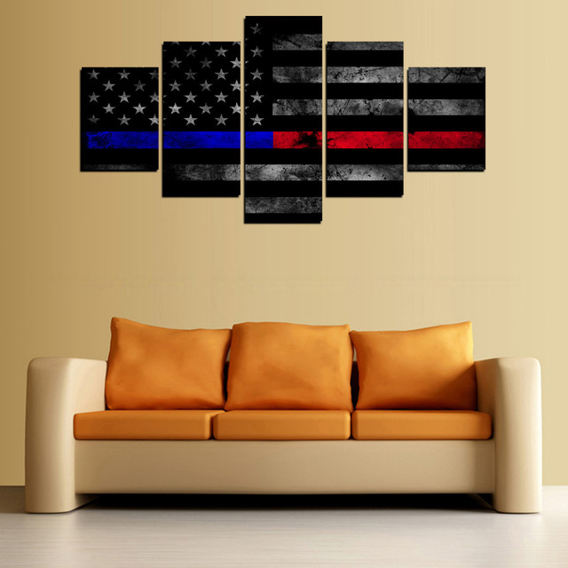 5 Panels USA Thin Blue Red Line Flag Oil Painting Canvas Wall Art ...