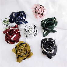 Fashion small square scarf silk beautiful solid design girl headband hair band bag handle wrapped