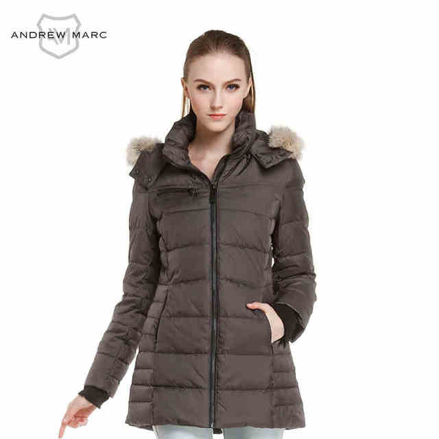 02808edeb ANDREW MARC MNY 2016 Parkas Down for Women Winter Fashion Long Slim Snow Jacket  Coats Black White Grey TW4AE515