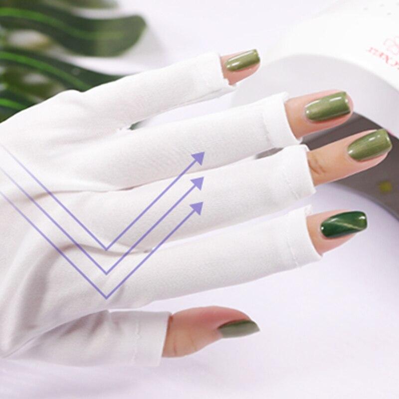 White Nail Art UV Gel Anti-ultraviolet Gloves Protection UV Light Lamp Dryer Open-Toed Gloves Polish Tips Nail Tools