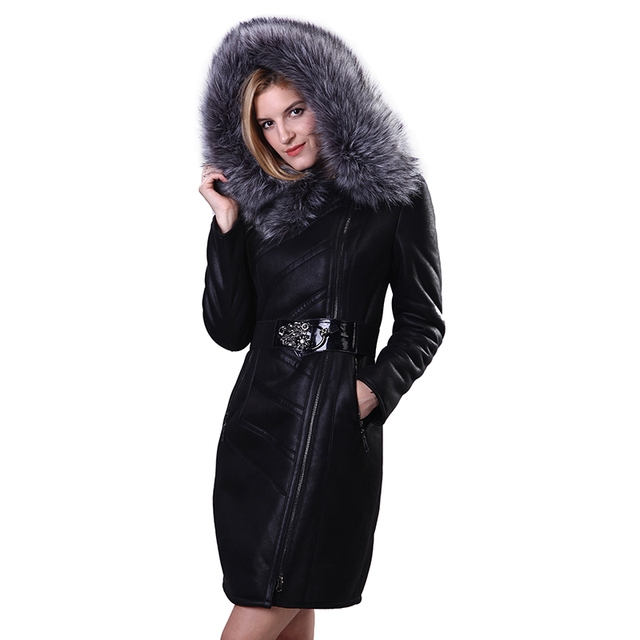 Factory direct supply clothes Faux Fur coats Women's leather winter Fox fur Hooded long Keep warm M-7XL Sashes fashion 2017 new